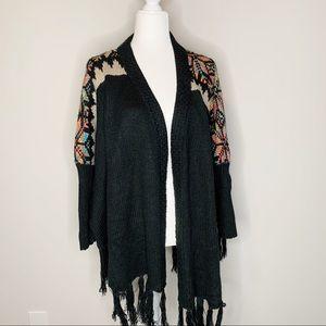 ii Sisters Black & Rainbow Cardigan Sweater Sz M/L